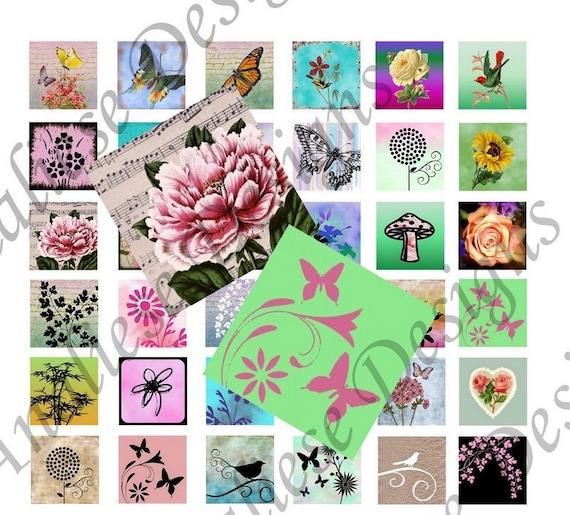 Butterflies and Blossoms  - Instant Download - Digital Collage Sheet - 1 Inch Squares