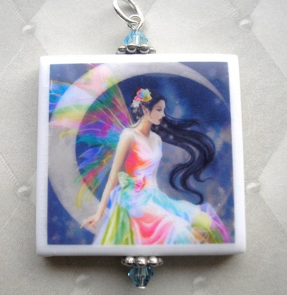 Rainbow Fairy - Polymer Clay Pendant Necklace with Crystals