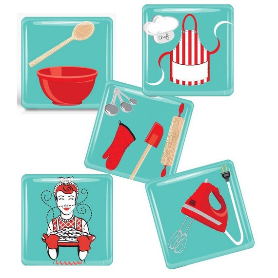 Retro Kitchen-   Glass Tile Magnet Set