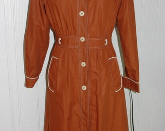 Vintage Rusty Brown Trench Rain Coat with Piping