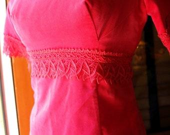 Hot Pink Velvet and Lace Vintage 60's Babydoll Dress
