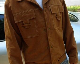 Men's Vintage Brushed Cotton Brown Jacket Coat