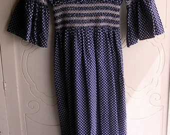 Vintage Calico Navy Blue Print Hippie Maxi Dress