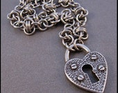 Lock Up Your Heart chunky steel chainmaille necklace