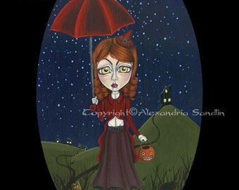 Halloween Witch Art Print,  Big Eyed Lowbrow Fantasy, Out Tick Or Treating 8.5X11, By Alexandria Sandlin