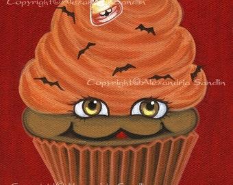 Halloween Cupcake Art Print, Happy Halloween Cupcake 8.5X11, By Alexandria Sandlin
