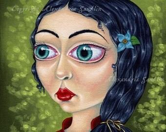 Gothic Fairytale Art Print, Big Eyed Lowbrow Fantasy, Rose Red 8X10, By Alexandria Sandlin