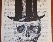Vintage Sheet Music with silhouette print SKULL in TOP HAT design