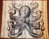 Vintage Sheet Music with silhouette print OCTOPUS design