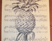 Vintage Sheet Music with silhouette print PINEAPPLE design