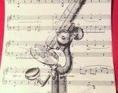 Silhouette print vintage sheet music microscope image design