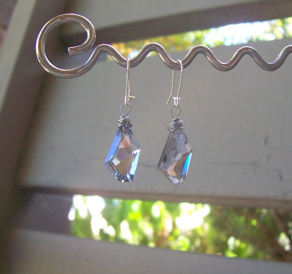 Faceted Silver Swarovski Crystal POLYGON earrings drops WOW