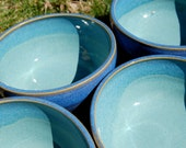 HOLD for Marilyn - Set of 4 Cereal Bowls - Hand-Thrown Blue and Teal Pottery