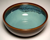 Hand-Thrown Serving Bowl - Brown and Teal Pottery