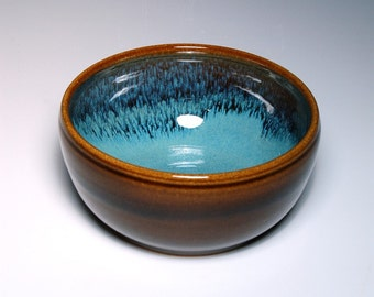One Cereal Bowl - Brown and Teal Pottery