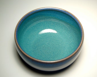One Cereal Bowl - Hand-Thrown Blue and Teal Pottery