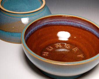 Large Dog Chow Dish - Brown and Teal Pottery