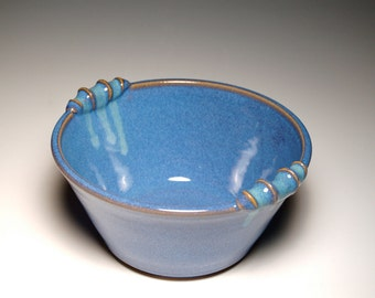 Round Handled Casserole - Blue and Teal Pottery
