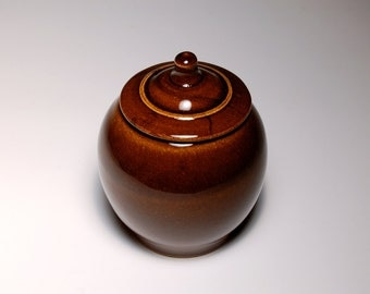 Sugar Bowl - Brown and Teal Pottery