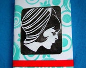 retro French girl pocket notebook 3x4 with protective laminate cover