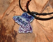 Purple AND BlueTEXTURED ANGEL necklace  PRAY odd14