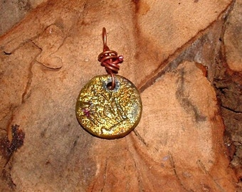 Round Raku pendant wirewrapped ready to wear odd283