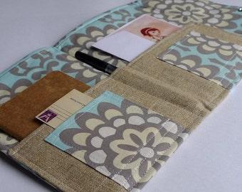 Love Letter Stationery Organizer, Passport, Travel Documents- Linen In Touch Clutch (tm) in Wallflower Sky Blue
