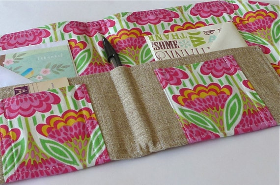 Organizer for Coupons, Stationery, Letters, Passports, Moleskine- In Touch Clutch (tm) in Anna Maria Horner Garden Party