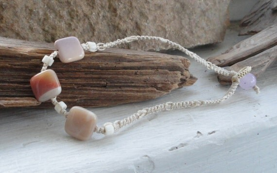 Calm moukaite jasper and bone hemp ankle bracelet