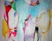 "Treasury Item Original Mixed Media Abstract Art Painting Drawing ""Sweet Nothings"""