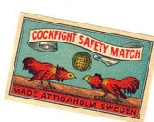 1910s Antique COCKFIGHT Matches Label