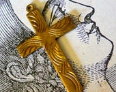 2pcs Vintage 40s WAVY CROSS Intricate Brass