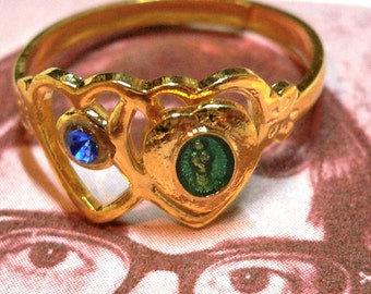 60s Vintage VIRGIN MARY RING Heart Enamel