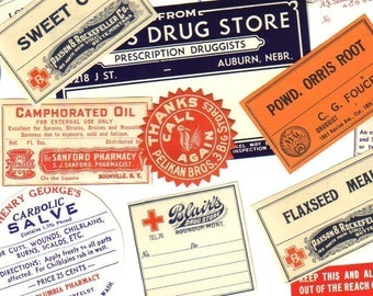 10pcs OLD PHARMACY LABELS Antique 1910s-50s Drugs Tinctures Oils Preparations Extracts Remedies