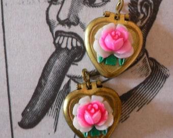 2pcs ROSE VINTAGE LOCKETS Celluloid Flower Brass Hearts