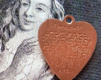 TINY LORD'S PRAYER Vintage Religious Medal Heart Copper Charm