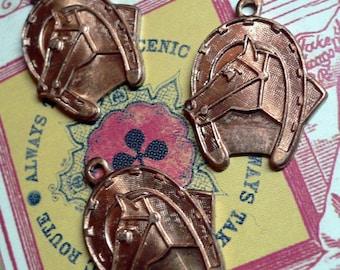 6pcs Vintage 50s TINY HORSESHOE CHARMS Copper