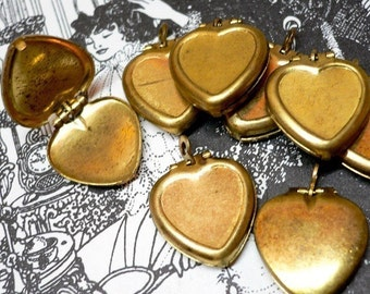 10pcs 60s Vintage HEART LOCKETS Worn Brass