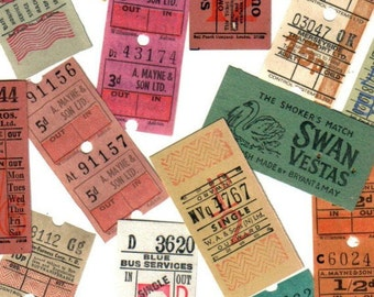 12pcs Vintage BRITISH TROLLEY TICKETS Assortment