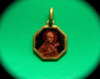 CHOCOLATE ENAMEL MEDAL 50s St. Therese France