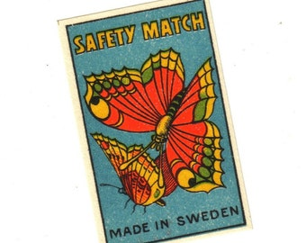 Antique 1910s BUTTERFLY Match Label