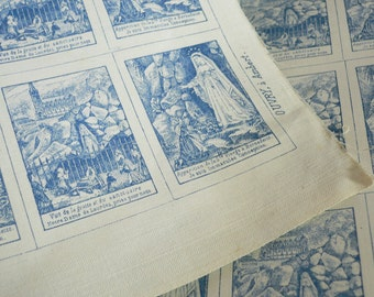 2pcs SCAPULAR CLOTH SQUARES 1870s Saint Bernadette Grotto Blue