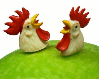 2pcs 70s Vintage TINY ROOSTER HEADS Germany