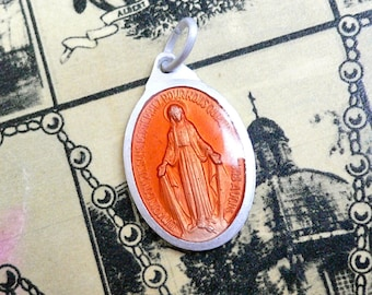 VINTAGE ENAMEL MARY 1960s Vintage Religious Medal Coral