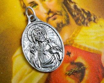 SWEET SCAPULAR MEDAL 60s Vintage Sacred Heart of Jesus