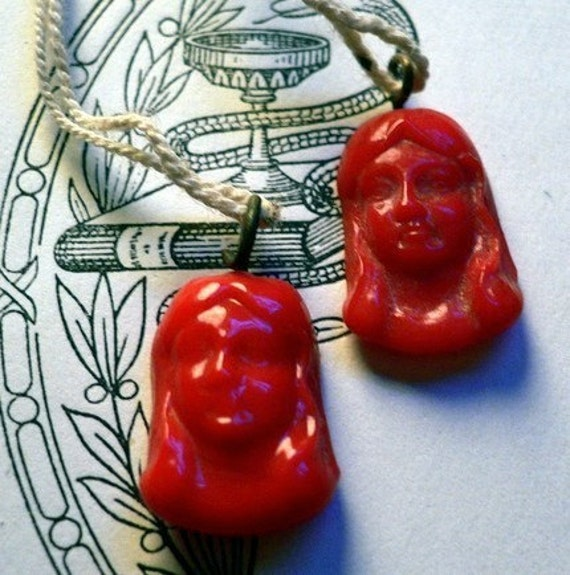 2pcs 30s Antique JAPAN GLASS DAMSEL Charms Red
