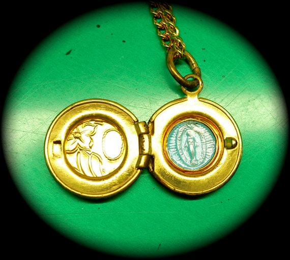 Vintage 60s Super TINY MIRACULOUS LOCKET Brass Mary Religious