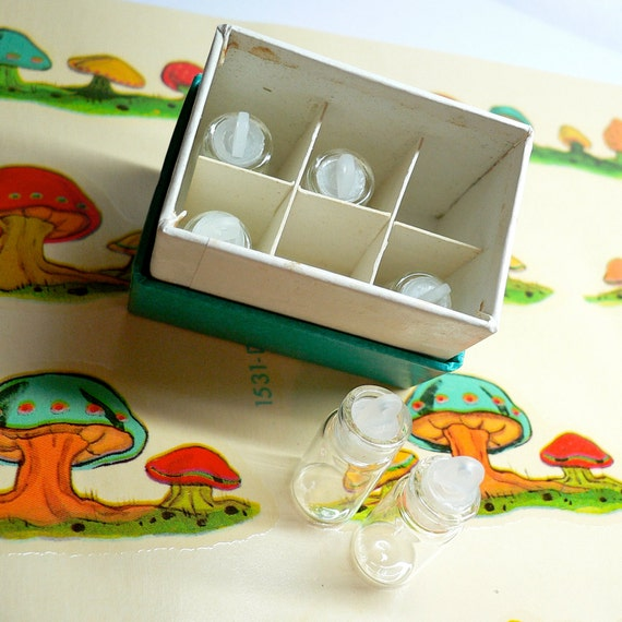 TINY BOX of VIALS 60s Vintage Six Compartments With Great Label