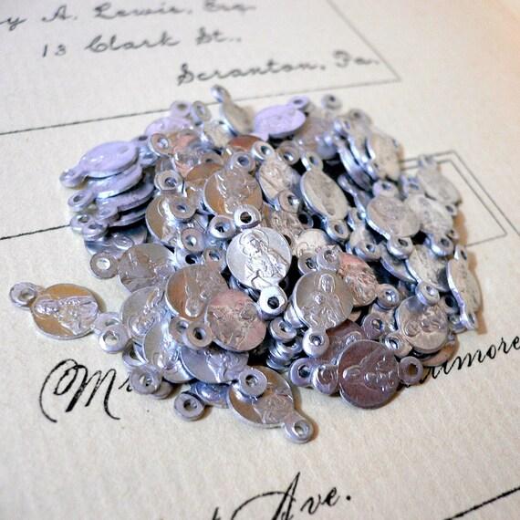 6pcs Tiny FRENCH VIRGIN MARY Charms 1920s Antique Rosary Parts
