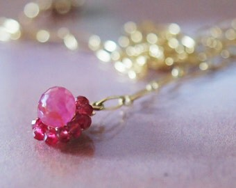 Charmed Luxe Berry Pink Sapphire red Spinel gemstone 14kt Goldfill Charm